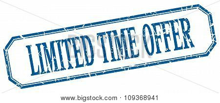 Limited Time Offer Square Blue Grunge Vintage Isolated Label