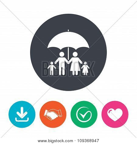 Complete family insurance icon. Umbrella symbol.