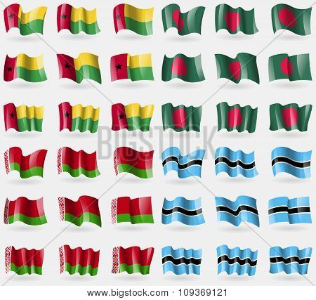 Guineabissau, Bangladesh, Belarus, Botswana. Set Of 36 Flags Of The Countries Of The World.