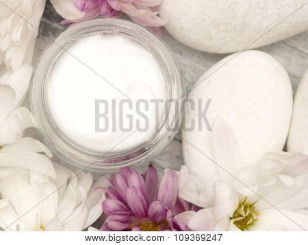 facial cream with fresh flowers, fresh as flowers