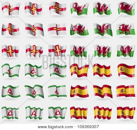 Guernsey, Wales, Ingushetia, Spain. Set Of 36 Flags Of The Countries Of The World.
