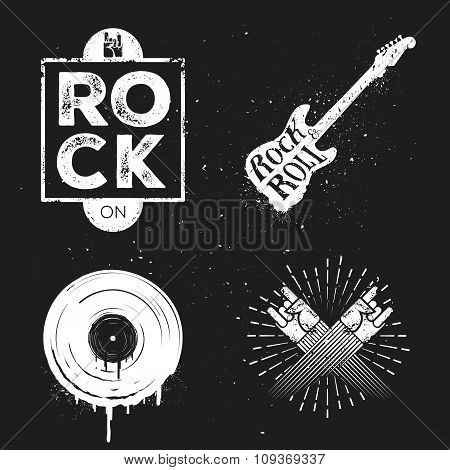 Set of rock and roll music signs, elements, labels. Music theme.
