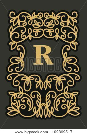 Vintage  frame with copy space for text in trendy mono line style - monogram design element. Vector illustration.
