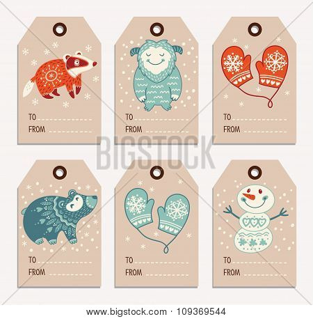 Christmas and New Year gift tags, stickers, labels