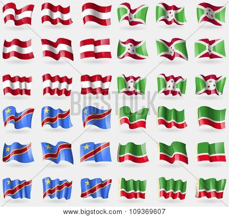 Austria, Burundi, Congo Democratic Republic, Chechen Republic. Set Of 36 Flags Of The Countries Of
