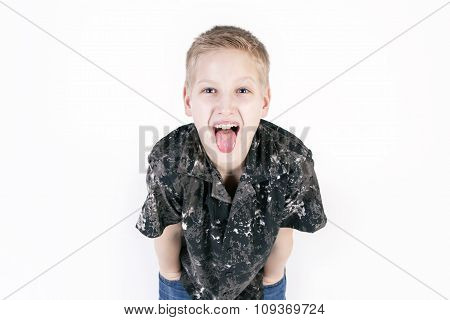 Happy young boy play the ape isolated on white background