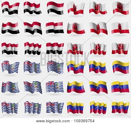 Yemen, Gibraltar, British Indian Ocean Territory, Venezuela. Set Of 36 Flags Of The Countries Of