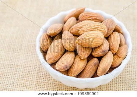 Almonds In White Cup.