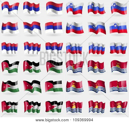 Republika Srpska, Slovenia, Jordan, Kiribati. Set Of 36 Flags Of The Countries Of The World.