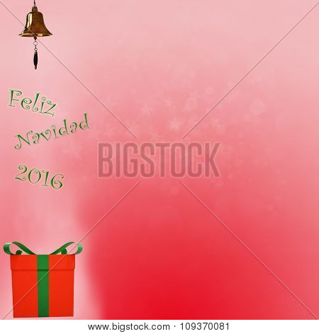 Feliz Navidad In Spanish Text Bokhe On Red Background