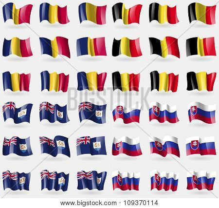 Chad, Belgium, Anguilla, Slovakia. Set Of 36 Flags Of The Countries Of The World. Vector