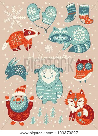 Hello winter card. Christmas set with cartoon characters. Vector illustration