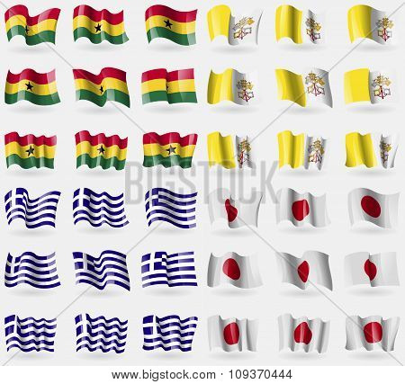 Ghana, Vatican Cityholy See, Greece, Japan. Set Of 36 Flags Of The Countries Of The World. Vector