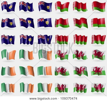 Turks And Caicos, Belarus, Ireland, Wales. Set Of 36 Flags Of The Countries Of The World. Vector