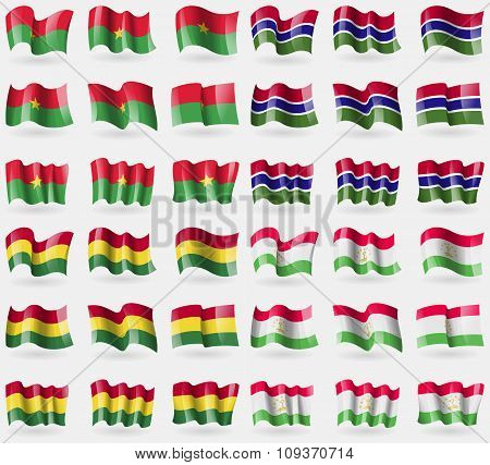 Burkia Faso, Gambia, Bolivia, Tajikistan. Set Of 36 Flags Of The Countries Of The World. Vector