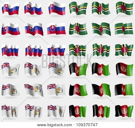 Slovakia, Dominica, British Antarctic Territory, Afghanistan. Set Of 36 Flags Of The Countries Of Th