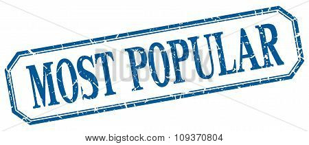 Most Popular Square Blue Grunge Vintage Isolated Label