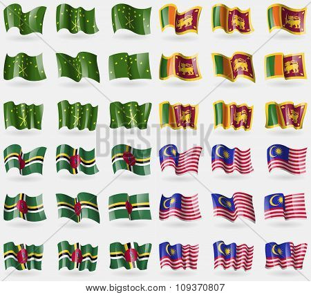 Adygea, Sri Lanka, Dominica, Malaysia. Set Of 36 Flags Of The Countries Of The World. Vector