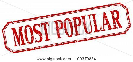 Most Popular Square Red Grunge Vintage Isolated Label
