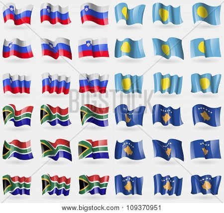 Slovenia, Palau, South Africa, Kosovo. Set Of 36 Flags Of The Countries Of The World. Vector