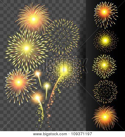 Golden Firework Set On Translucent Background For Christmas And Happy New Year Or Celebration