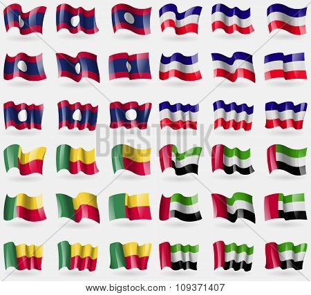 Laos, Los Altos, Benin, United Arab Emirates. Set Of 36 Flags Of The Countries Of The World. Vector
