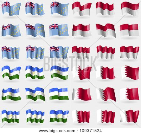 Tuvalu, Indonesia, Bashkortostan, Bahrain. Set Of 36 Flags Of The Countries Of The World. Vector