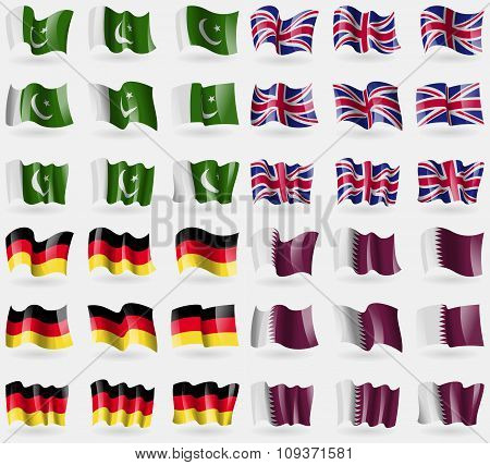 Pakistan, United Kingdom, Germany, Qatar. Set Of 36 Flags Of The Countries Of The World. Vector