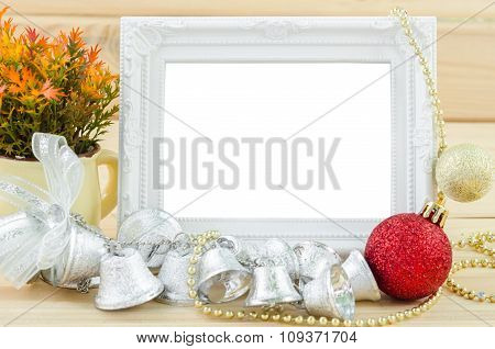 Vintage White Blank Photo Frame With Christmas Decorations.