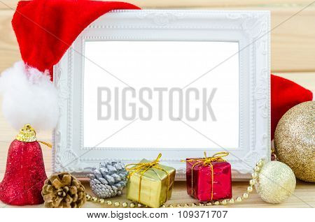 Vintage Photo Frame And Christmas Decorations.