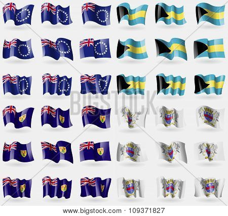 Cook Islands, Bahamas, Turks And Caicos, Saint Barthelemy. Set Of 36 Flags Of The Countries Of The W