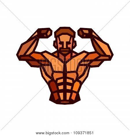 Polygonal Colored Vector Bodybuilder Logo.