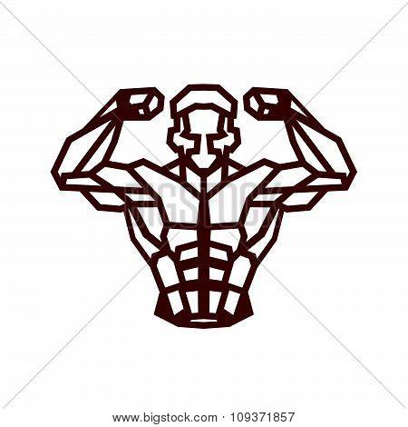 Polygonal Outline Vector Bodybuilder Logo.