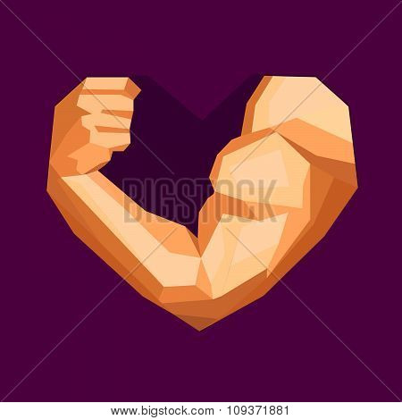 Hand With Biceps In Heart Shape. Gym Or Fitness Logo.