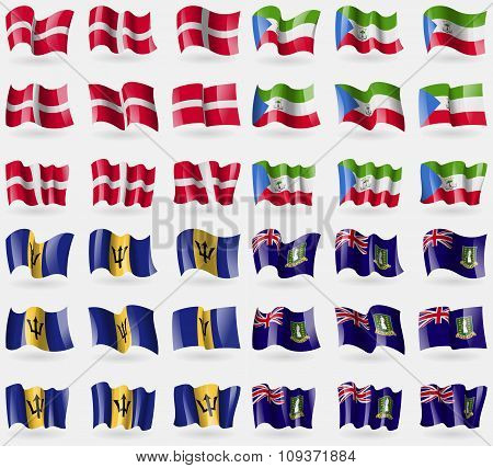 Military Order Malta, Equatorial Guinea, Barbados, Virginislandsuk. Set Of 36 Flags Of The Countries