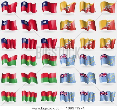 Taiwan, Bhutan, Burkia Faso, Tuvalu. Set Of 36 Flags Of The Countries Of The World. Vector