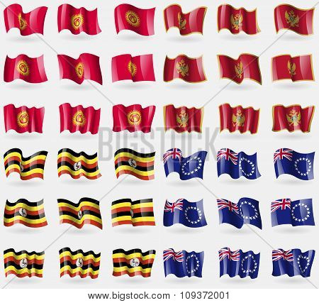 Kyrgyzstan, Montenegro, Uganda, Cook Islands. Set Of 36 Flags Of The Countries Of The World. Vector