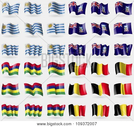 Uruguay, Falkland Islands, Mauritius, Belgium. Set Of 36 Flags Of The Countries Of The World. Vector