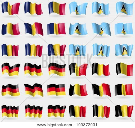 Chad, Saint Lucia, Germany, Belgium. Set Of 36 Flags Of The Countries Of The World. Vector