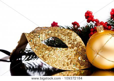 Christmas decoration mask with european holly