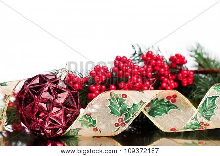 Christmas decoration with european holly
