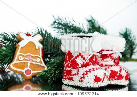 Christmas decoration boot with fir-tree