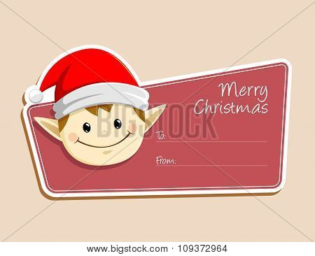 Christmas Label With Elf Face