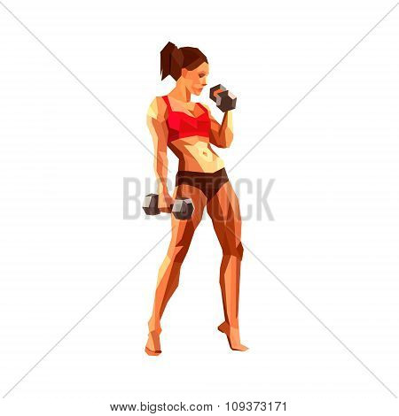 Polygonal Female Athlete, Bodybuilder, Personal Trainer In A Gym. Muscular Woman.