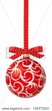 Red Christmas ball hanging on red ribbon