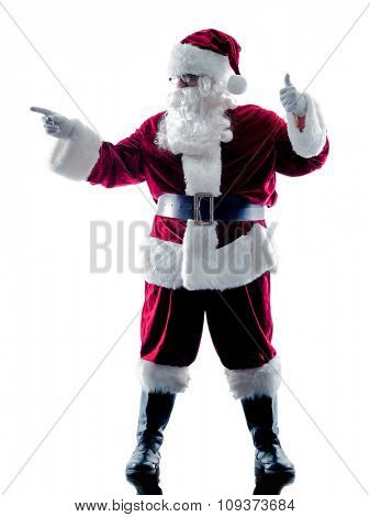 one santa claus man showing pointing  silhouette isolated on white background