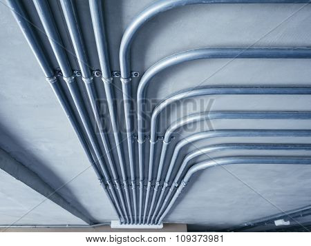 Electricity Pipe system on Cement Wall