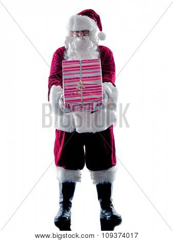 one santa claus man holding giving gifts silhouette isolated on white background