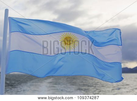 Flag of Argentina in Ushuaia, Argentina