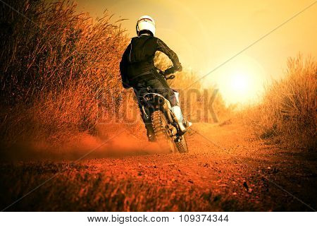 Man Riding Motorcycle In Motorcross Track Use For People Activities And Leisure ,traveling